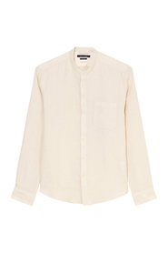 Shaped long sleeve shirt with a stand-up collar