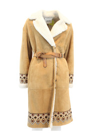 Long shearling with belt