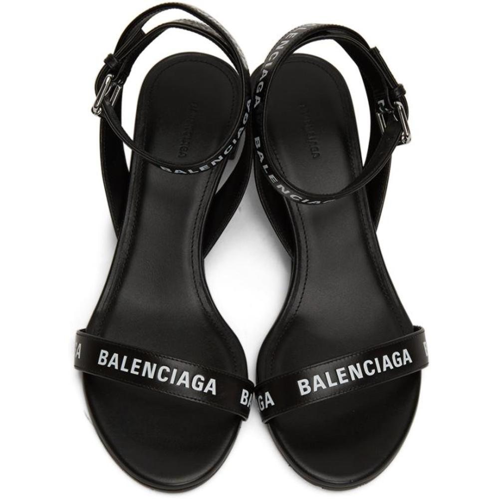 Black leather sandals with logo | Balenciaga | High Heel Sandals | Women's shoes