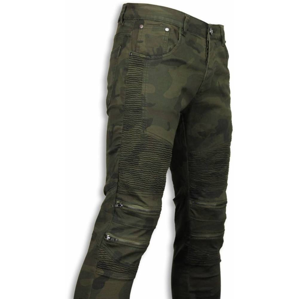 Slim Fit Zippade Biker Jeans