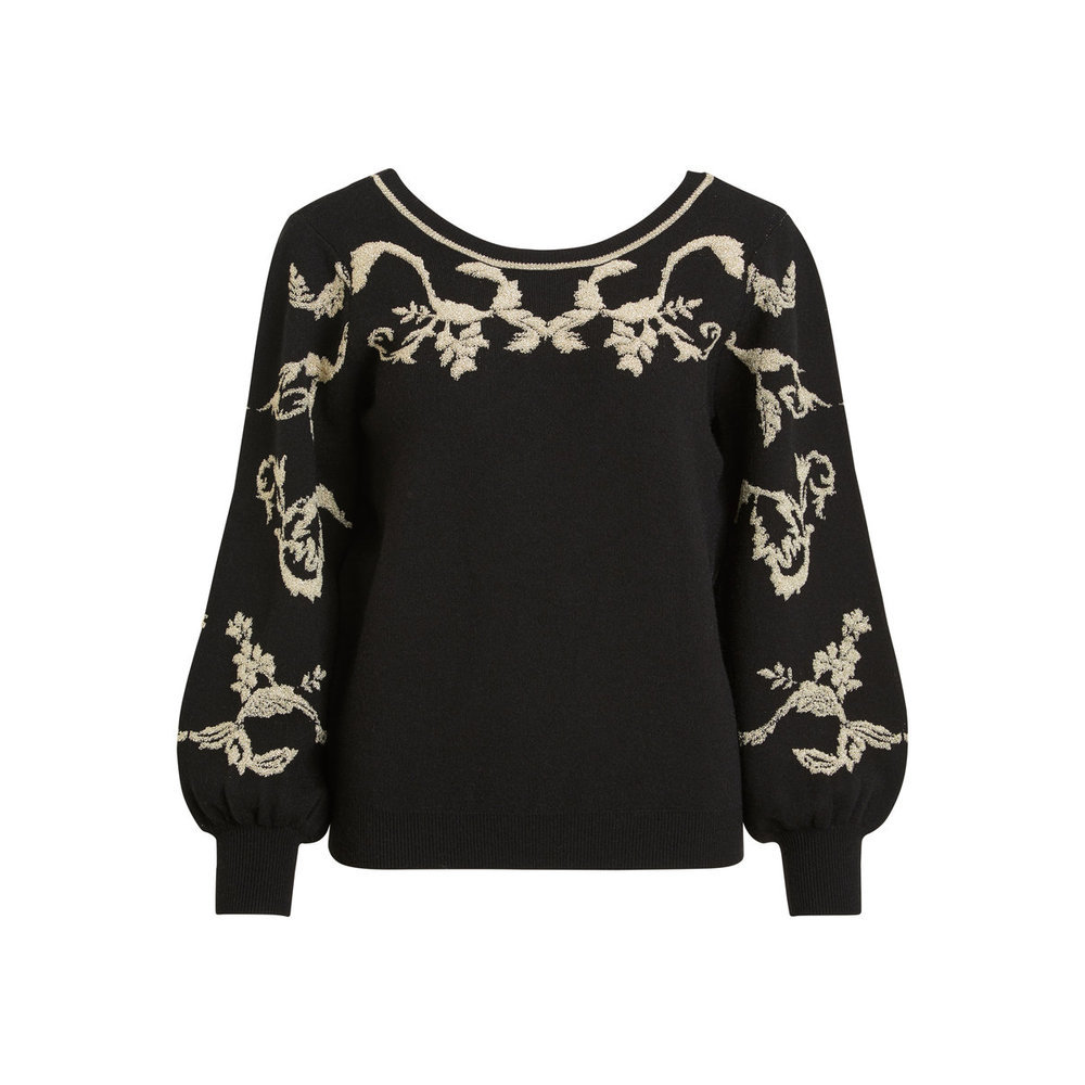 Knitted Pullover Deep back, embroidered