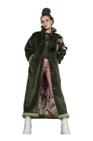 Long KHAKI FRIDA faux fur coat