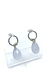 Ear studs with chalcedony pendants