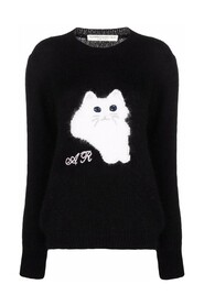WOOL JUMPER WITH CAT INTARSIA