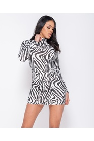 Zebra Print High Neck - Bodycon Dress