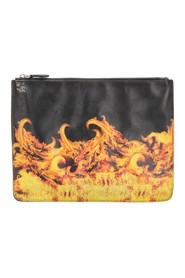 Flame Print Leather Pouch