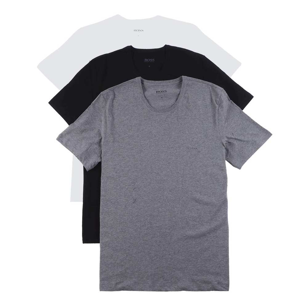 Triple Pack of Regular Fit Cotton T-shirts Black Assorted