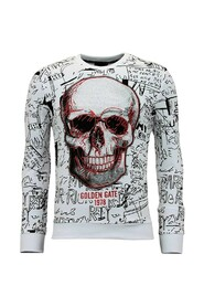 Sweater with Print - Skull Crewneck
