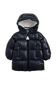 Down Jacket with Logo Patch