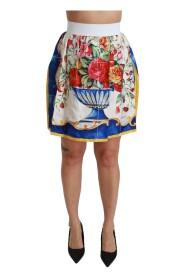 Flower Vase High Waist Mini Skirt Silk