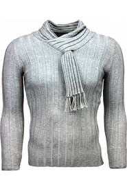 Casual Pullover Scarf Collar Design Stripes Motif