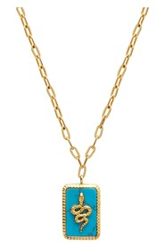 Gold Necklace with Turquoise Snake Pendant