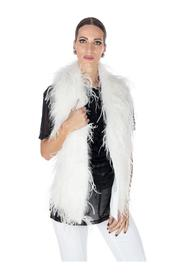 SLEEVELESS PLUM VEST WITH FEATHERS ON THE FRONT