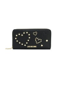 Studded heart continental wallet