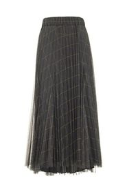 Windowpane tulle pleated skirt