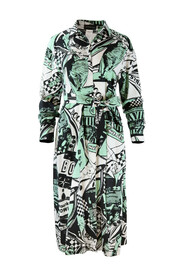 Bowling Print Graphic Shirt Dress