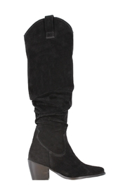 Ella square 4-d black high waxed suede slobby boot