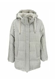 Sparkling water-resistant flannel down jacket with shiny trim