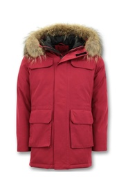 Winter Coat with Large Real Fur Collar