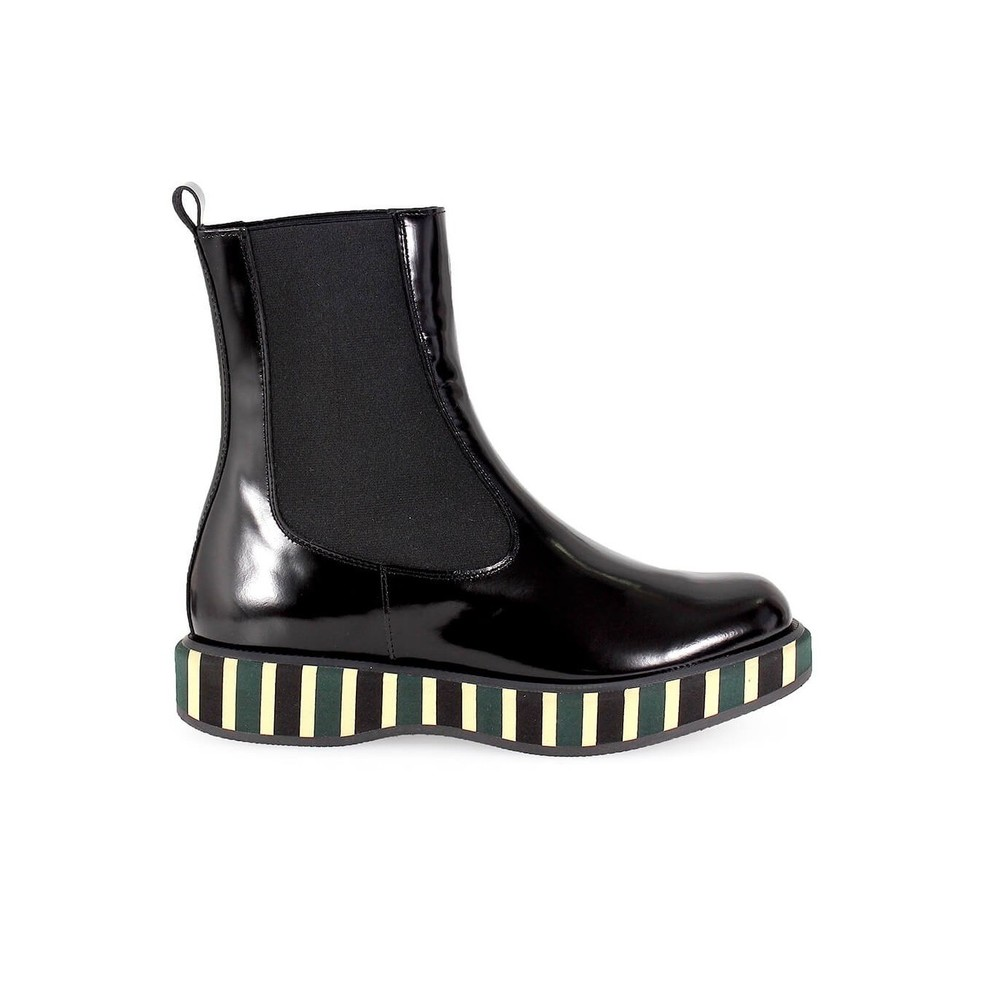 BLACK LEATHER STRIPED PLATFORM BOOT