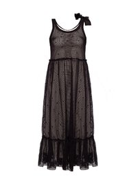 Two-layered dress with mesh