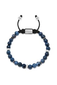 Men's Beaded Bracelet With Blue Dumortierite And Silver