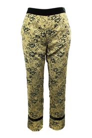 Jacquard Pants with Velvet Waistband