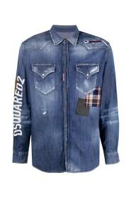 chemise en jean à effet usé