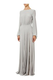 Pleated Red Carpet dress with light gold stirrup charm