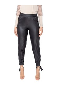 Wet Look Tie Up Hem Tapered Trousers