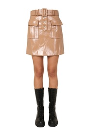 PAINTED FAUX LEATHER MINI SKIRT