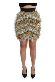 High Waist Fringe Mini Skirt