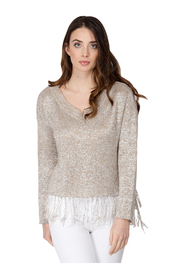 LUREX V-NECK SWEATER AND LONG SLEEVES