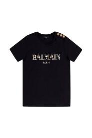 Musta puuvilla T-paita kultaisella logopainatuksella