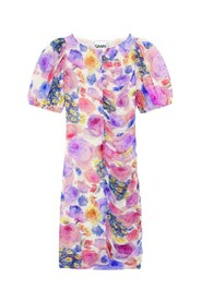 Printed Mesh Ruched Bodycon Mini Dress