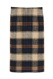 Knælang nederdel med tern