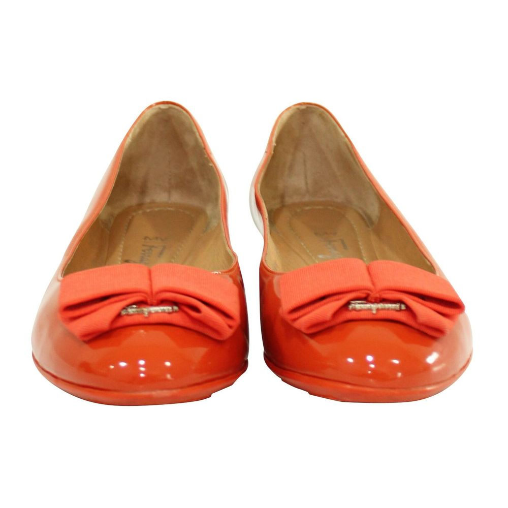 Salvatore Ferragamo Vintage Pre-owned Orange My Cherie Flats Salvatore Ferragamo Vintage