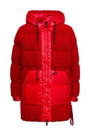 Red  Wool and Nylon Long Down Jacket