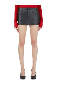 Leather Mini Shorts With Skirt
