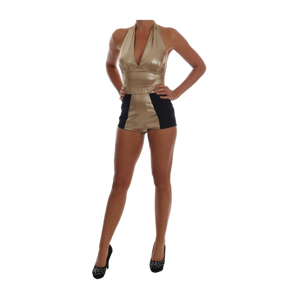 Dolce & Gabbana Gold Silk Stretch Romper Body Dolce & Gabbana