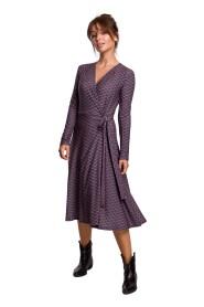 Kopertowa sukienka z wiązaniem we wzór