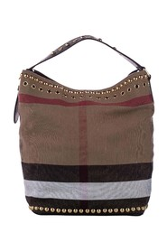 Big Check Canvas Bucket Bag