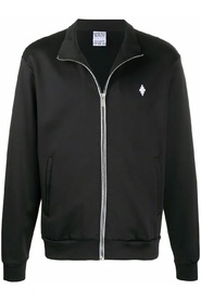 sporty sweatshirt with zip and fire cross embroidery