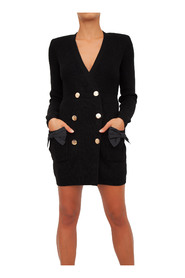 Knit coat dress with bows