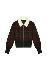 Bloppane checked short jacket with faux-fur collar