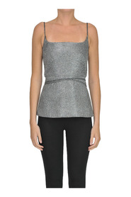 Structured lame' fabric top