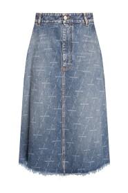 Denim skirt with logo