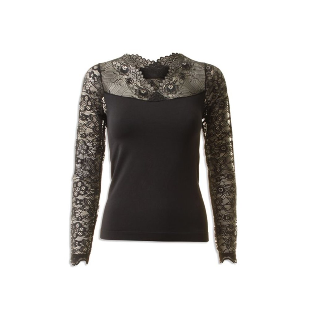 Vanessa V-Neck Long Sleeve blød bluse med blonde
