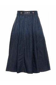 Pleated denim skirt with gold horse bit