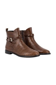 Croco leather ankle boots with strap